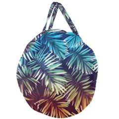 Tropic Leaves Giant Round Zipper Tote by goljakoff