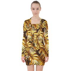 Golden Leaves V-neck Bodycon Long Sleeve Dress by goljakoff