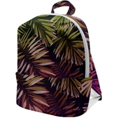 Purple Leaves Zip Up Backpack by goljakoff