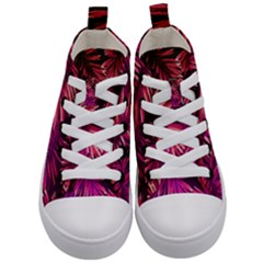 Pink Leaves Kids  Mid-top Canvas Sneakers