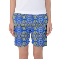 Gold And Blue Fancy Ornate Pattern Women s Basketball Shorts by dflcprintsclothing