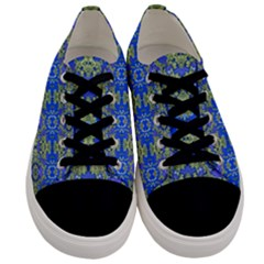 Gold And Blue Fancy Ornate Pattern Men s Low Top Canvas Sneakers