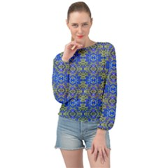 Gold And Blue Fancy Ornate Pattern Banded Bottom Chiffon Top