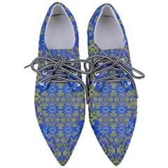 Gold And Blue Fancy Ornate Pattern Pointed Oxford Shoes by dflcprintsclothing