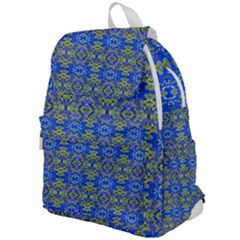 Gold And Blue Fancy Ornate Pattern Top Flap Backpack