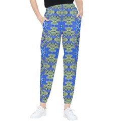 Gold And Blue Fancy Ornate Pattern Tapered Pants by dflcprintsclothing