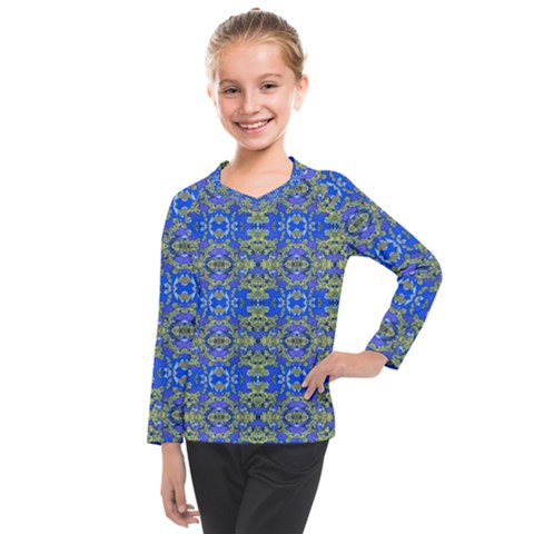 Gold And Blue Fancy Ornate Pattern Kids  Long Mesh Tee by dflcprintsclothing