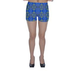 Gold And Blue Fancy Ornate Pattern Skinny Shorts by dflcprintsclothing
