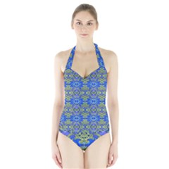 Gold And Blue Fancy Ornate Pattern Halter Swimsuit