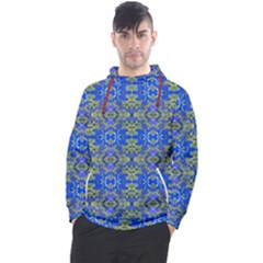 Gold And Blue Fancy Ornate Pattern Men s Pullover Hoodie