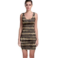 Red Tech Stripes Print Bodycon Dress