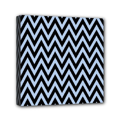 Chevron Style Collection - Angel Blue & Black Mini Canvas 6  X 6  (stretched)