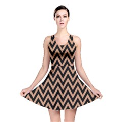Chevron Style Collection - Antique Brass Brown & Black Reversible Skater Dress