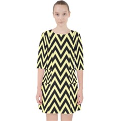 Chevron Style Collection - Banana Yellow & Black Pocket Dress