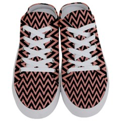 Chevron Style Collection - Blooming Dahlia Red & Black Half Slippers
