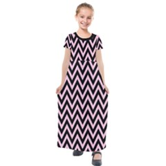 Chevron Style Collection - Blush Pink & Black Kids  Short Sleeve Maxi Dress