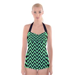 Chevron Style Collection - Dragon Green & Black Boyleg Halter Swimsuit