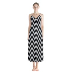 Chevron Style Collection - Silver Sand Grey & Black Button Up Chiffon Maxi Dress