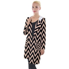 Chevron Style Collection - Soft Apricot Orange & Black Hooded Pocket Cardigan