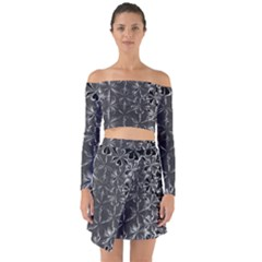 Lunar Eclipse Abstraction Off Shoulder Top With Skirt Set by MRNStudios