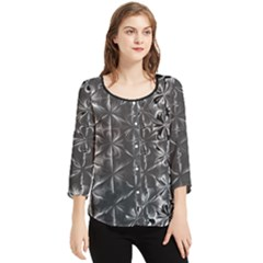 Lunar Eclipse Abstraction Chiffon Quarter Sleeve Blouse