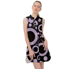 Circle Party Collection - Crocus Petal Purple & Black Sleeveless Shirt Dress