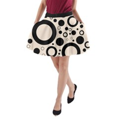 Circle Party Collection - Antique White & Black A-line Pocket Skirt