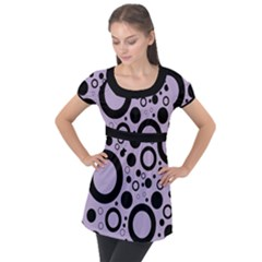 Circle Party Collection - Crocus Petal Purple & Black Puff Sleeve Tunic Top