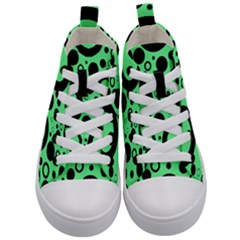 Circle Party Collection - Dragon Green & Black Kids  Mid-top Canvas Sneakers