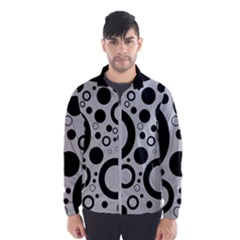 Circle Party Collection - Silver Sand Grey & Black Men s Windbreaker