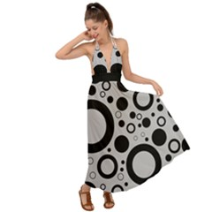 Circle Party Collection - Silver Sand Grey & Black Backless Maxi Beach Dress