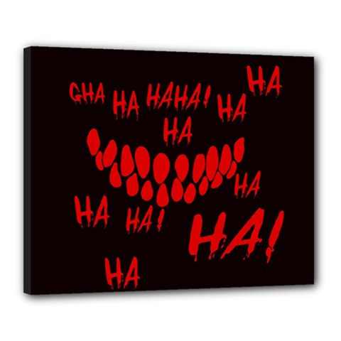 Demonic Laugh, Spooky Red Teeth Monster In Dark, Horror Theme Canvas 20  X 16  (stretched)