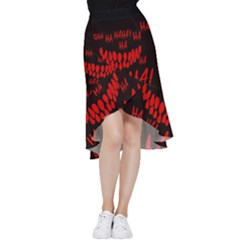 Demonic Laugh, Spooky Red Teeth Monster In Dark, Horror Theme Frill Hi Low Chiffon Skirt