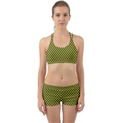Cute Yellow Tartan Pattern, Classic Buffalo Plaid Theme Back Web Gym Set