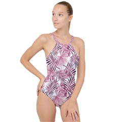 Pink Leaves High Neck One Piece Swimsuit