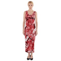 Red Leaves Fitted Maxi Dress by goljakoff