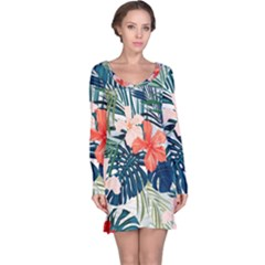Tropical Flowers Long Sleeve Nightdress by goljakoff
