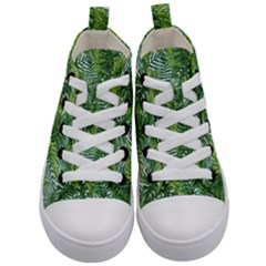Green Leaves Kids  Mid-top Canvas Sneakers
