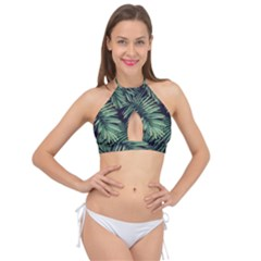 Green Palm Leaves Cross Front Halter Bikini Top