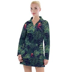 Tropical Flowers Women s Long Sleeve Casual Dress
