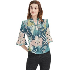 Abstract Flowers Loose Horn Sleeve Chiffon Blouse