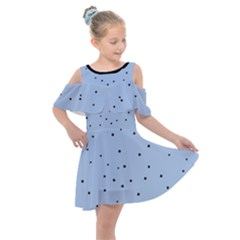 Cute Flowers Collection - Angel Blue & Black Kids  Shoulder Cutout Chiffon Dress by FEMCreations
