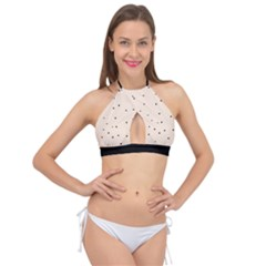 Cute Flowers Collection - Antique White & Black Cross Front Halter Bikini Top