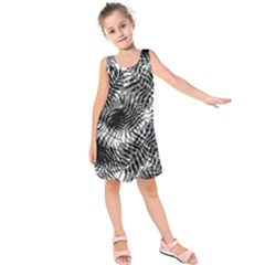 Tropical Leafs Pattern, Black And White Jungle Theme Kids  Sleeveless Dress