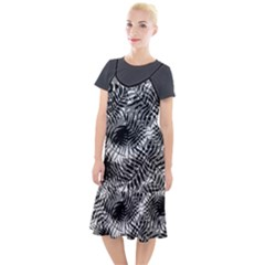Tropical Leafs Pattern, Black And White Jungle Theme Camis Fishtail Dress