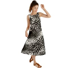 Tropical Leafs Pattern, Black And White Jungle Theme Summer Maxi Dress