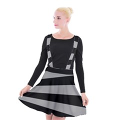 Striped Black And Grey Colors Pattern, Silver Geometric Lines Suspender Skater Skirt