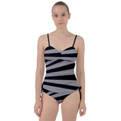 Striped Black And Grey Colors Pattern, Silver Geometric Lines Sweetheart Tankini Set