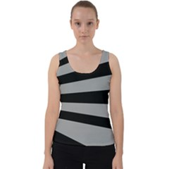 Striped Black And Grey Colors Pattern, Silver Geometric Lines Velvet Tank Top