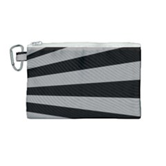 Striped Black And Grey Colors Pattern, Silver Geometric Lines Canvas Cosmetic Bag (medium)